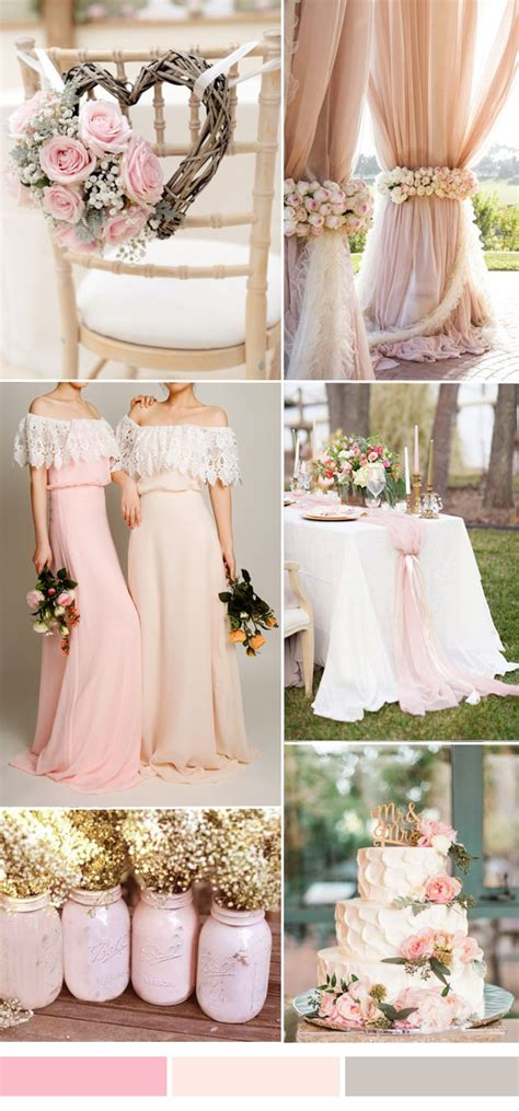 Rose wedding color combo ideas 2016 2017 for spring summer weddings