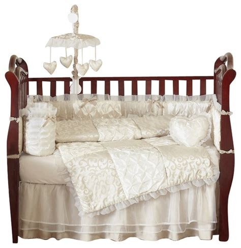 ivory crib bedding chagne and ivory victoria 9 piece baby crib bedding set