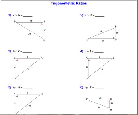 Trigonometry Ratios Worksheet by 100 Trigonometric Ratio Worksheet All Worksheets