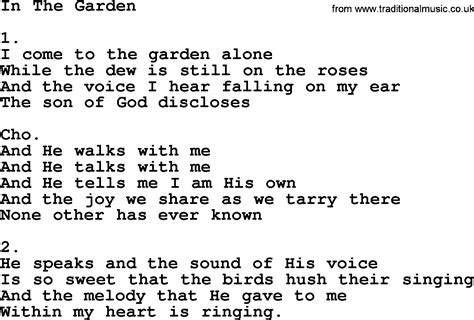 In The Garden Hymn Lyrics by In The Garden Apostolic And Pentecostal Hymns And Songs