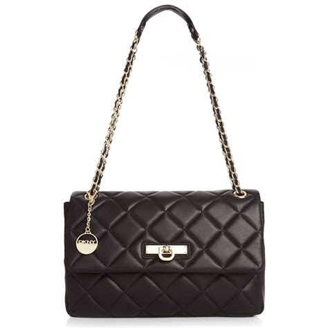 Black Quilted Chain Shoulder Bag dkny quilted nappa adjustable chain shoulder bag in black