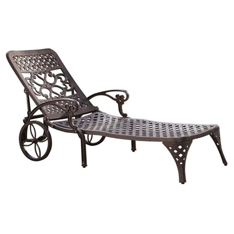 Patio Chaise Lounge Chairs Shop Home Styles Biscayne Bronze Aluminum Patio Chaise Lounge Chair At Lowes