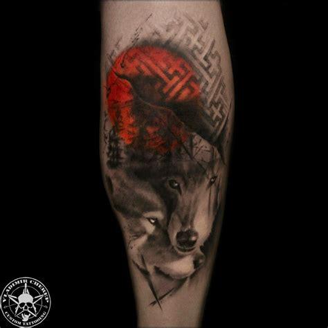 два волка в стиле треш полька фото татуировок
