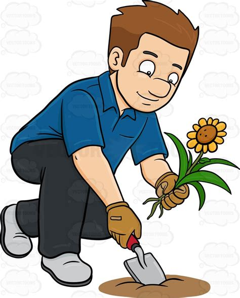 A Man Transferring A Sunflower To A New Location Cartoon