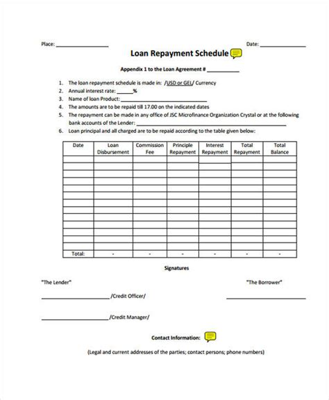 loan repayment contract template loan agreement form template
