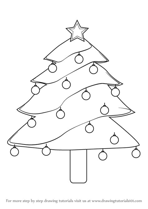 how to draw christmas tree learn how to draw decorated tree step by step drawing tutorials