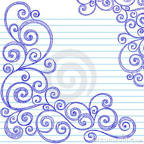 how to draw doodle swirls sketchy doodles swirls on notebook paper vector royalty