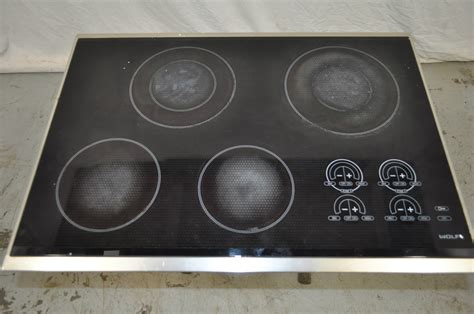 Used Electric Cooktop wolf 30 quot stainless black smoothtop electric cooktop ct30e used wlk ebay