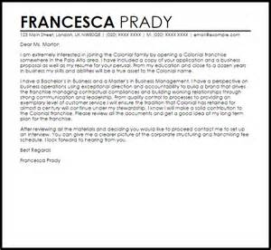 franchise cover letter sample livecareer