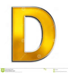 d color isolated letter d in shiny gold royalty free stock