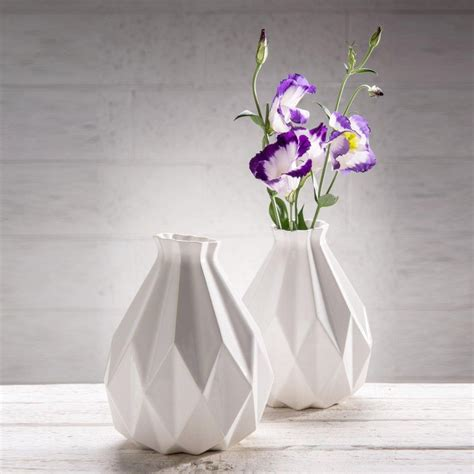 white ceramic home decor geometric vase white ceramic origami inspired gift idea