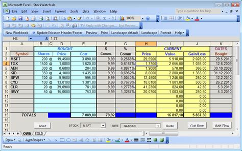 stock report template excel best photos of exle of stock portfolio exle stock