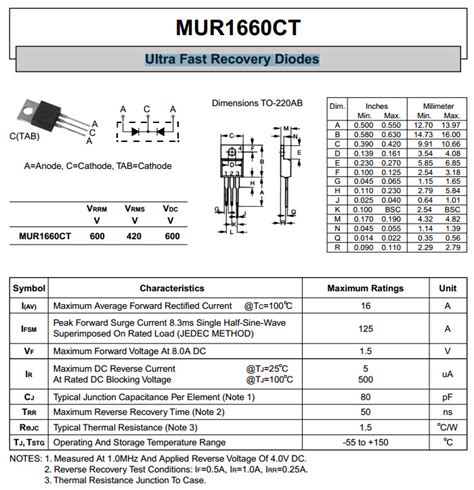 Produk Mur1660ct Fast Recovery Diode mur1660cta ultra fast recovery diodes common cathode
