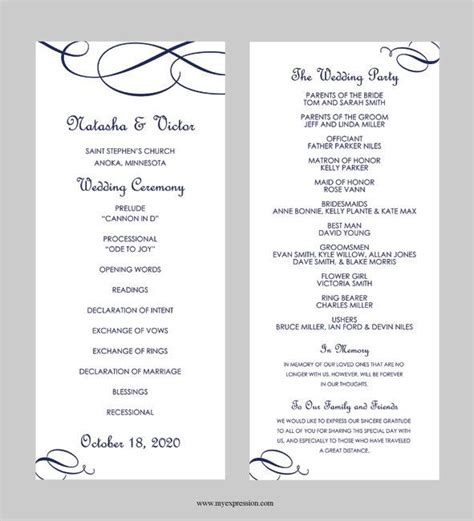 free wedding program template wedding program template tea length calligraphic