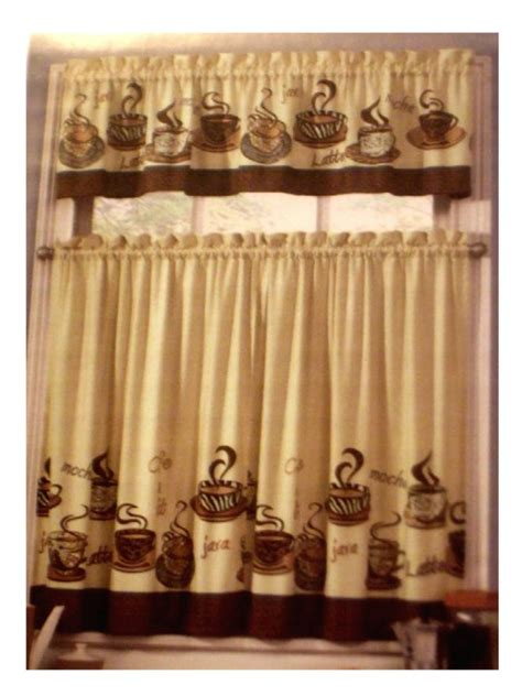coffee themed kitchen curtains tiers valance set