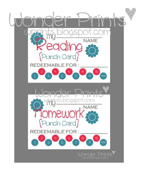 bathroom pass punch card template homework reading punch card printable by