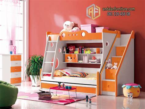 Ranjang Plus Laci tempat tidur tingkat anak kembar perempuan minimalis
