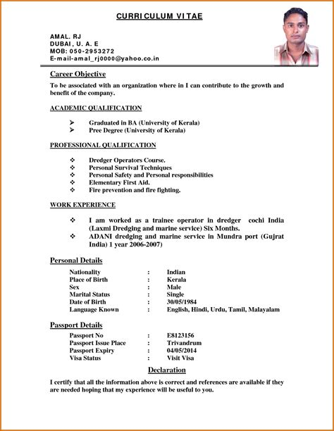 Curriculum Vitae Format by Cv Exle Format Ideal Vistalist Co