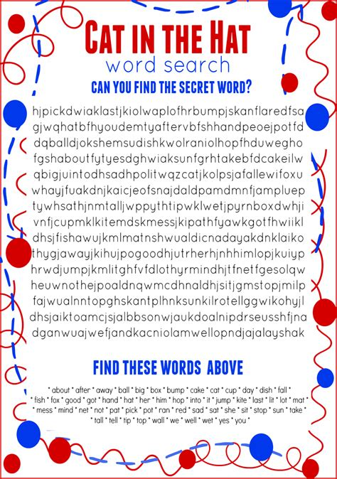 Free And Search Cat In The Hat Word Search Free Printable