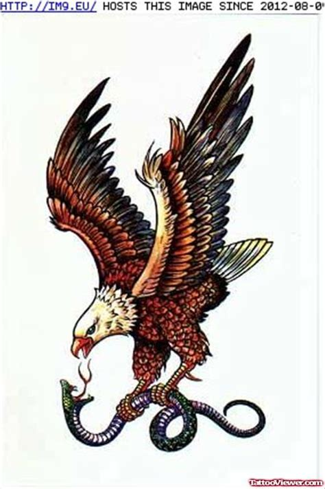 eagle and snake tattoo design colored eagle with snake design viewer