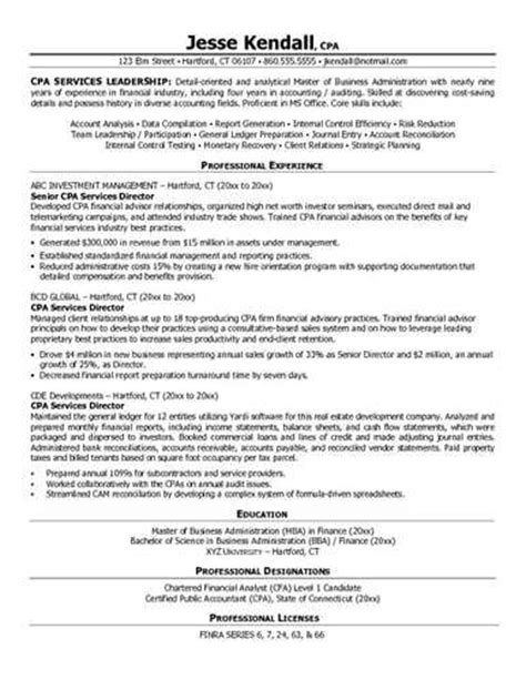 accounting resume sles cpa resume accountant resume