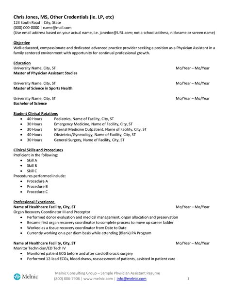 Pa Resume by Physician Assistant Sle Resume For Seekers Melnic