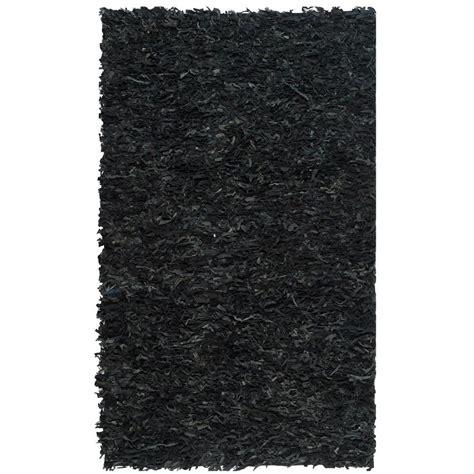 black leather rug safavieh leather shag black 4 ft x 6 ft area rug lsg511a 4 the home depot