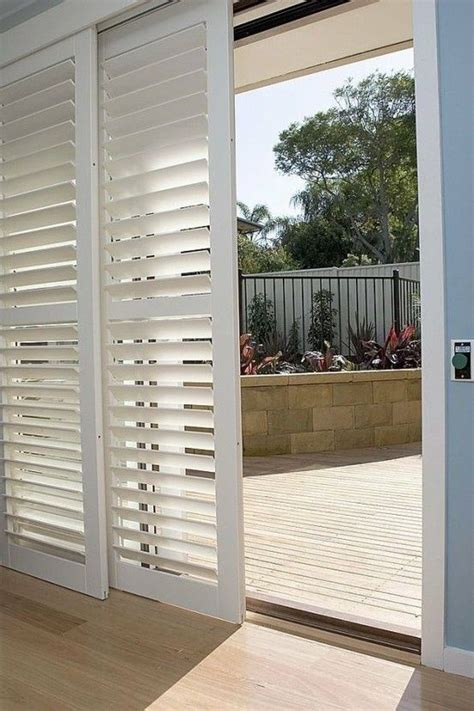 Shutters For Patio Doors Shutters On Sliding Patio Doors Add Privacy And Soften Sunlight Diy Home Decor Pinterest