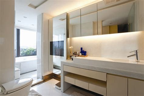 Modern Bathroom In Awesome Open Plan House With Fashion Detail Modern