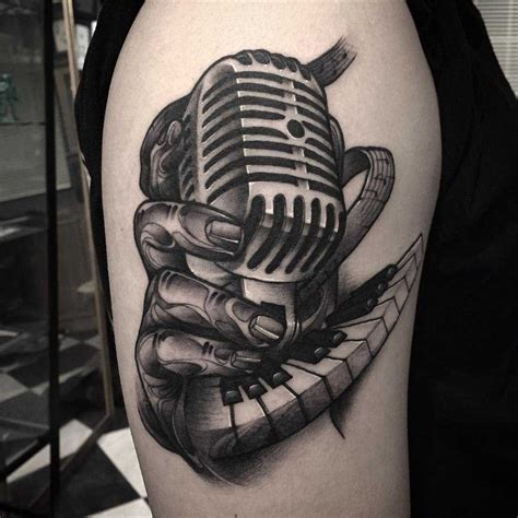 keyboard tattoo a vintage microphone on shoulder graphic