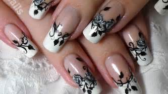 Nail art designs french manicure with black amp white roses nail art
