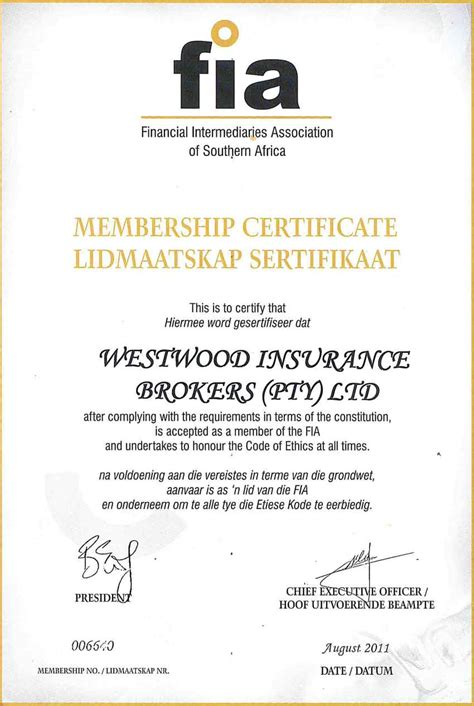 Insurance Letter Of Standing Associate Memberships Westwood Insurance Brokers