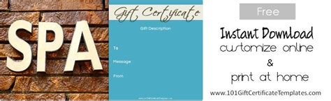 spa day gift card template coupon template template business