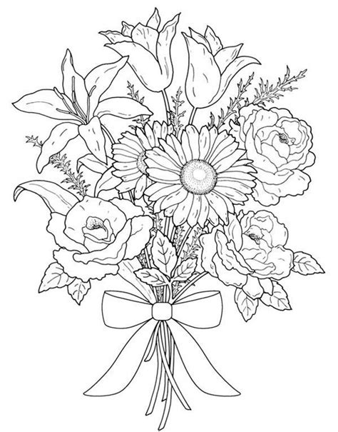 coloring pages flowers bouquet flower bouquet flower bouquet for valentine day