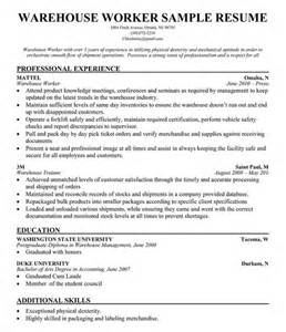Warehouse Worker Resume Exle by Warehouse Worker Resume Sle Resume Companion Simply Great Ideas Resume