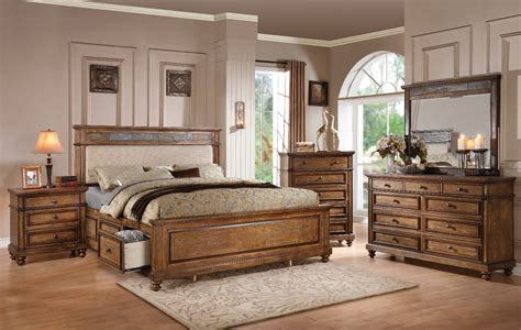 oak bed set arielle oak 4pc king storage bedroom set 24457ek