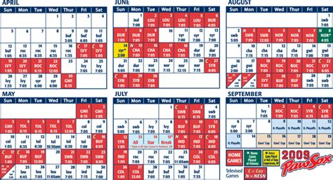 sox printable schedule my