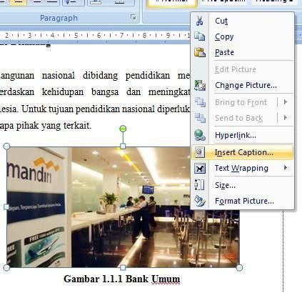 membuat daftar gambar microsoft word cara membuat daftar gambar tabel otomatis di word 2007 dan