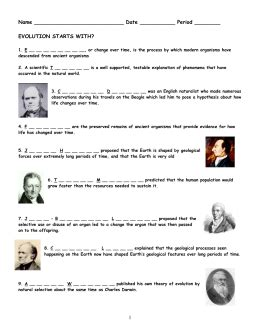 Evolution Starts With Worksheet Answers