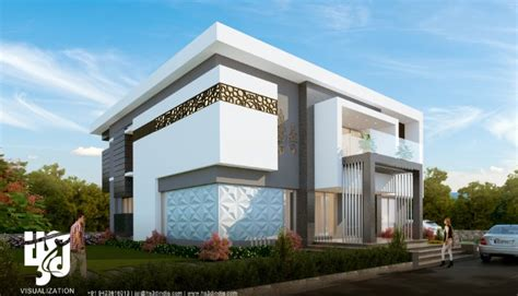Contemporary House Floor Plans 3d Modern Villa Exterior Elevation Design Day Rendering By