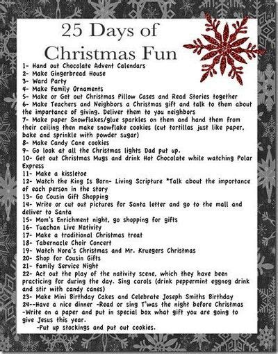 25 days of christmas activities great ideas for putting in
