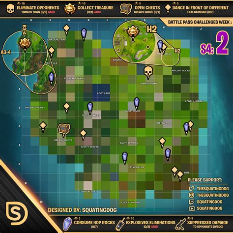 fortnite week 4 challenges fortnite map shows all week 2 season 4 challenge locations
