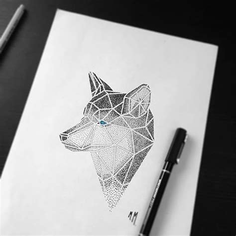bonnie blue tattoo bonny dotwork geometric blue eyed wolf portrait