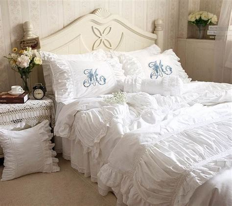 Vintage Bedspreads And Comforters by Luxurious Ruched Ruffled Lace Eyelet Duvet Bedding