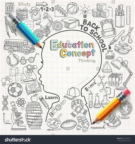 education doodle vector free education concept thinking doodles icons set vector