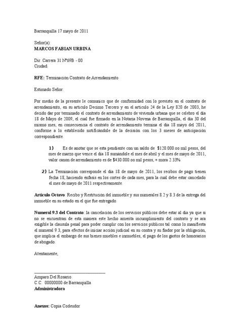 carta de cancelacion laboral carta de terminacion de contrato