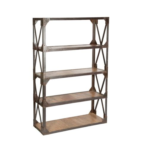 industrial style wood and iron bookshelf free shipping