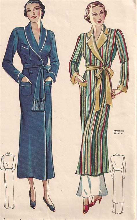 vintage housecoat pattern vintage 30s hollywood glamour robe vintage sewing