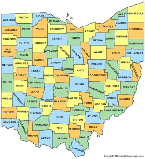 ohio county map oh counties map of ohio