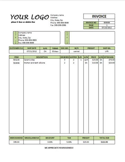 commerical invoice template commercial invoice template